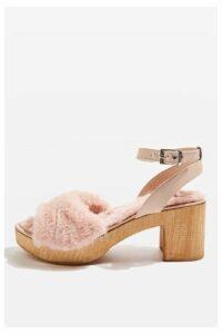Womens VINNIE Fur Footbed Sandals - Pink, Pink