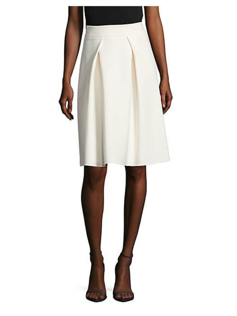 Pleated Virgin Wool Midi Skirt