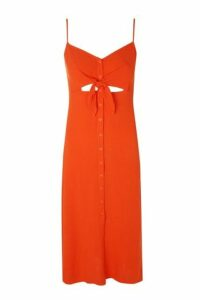 Womens Knot Front Midi Slip Dress - Red, Red
