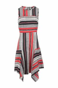 Stripe Pattern Hanky Hem Dress