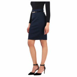 Krisp  Belted Pencil Midi Skirt [Navy]  women's Skirt in Blue