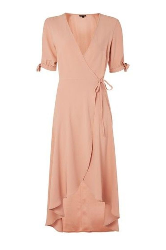 Womens Crepe Wrap Midi Dress - Nude, Nude