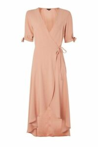 Womens Crepe Wrap Midi Dress - Nude, Nude