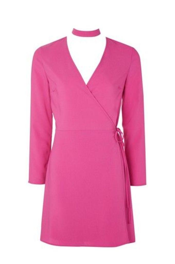 Womens Wrap Choker Mini Dress - Magenta, Magenta