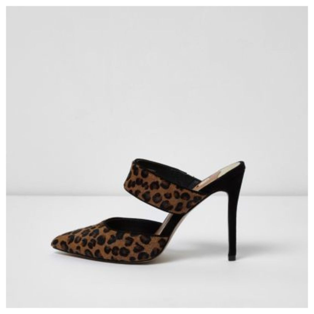0065a5ae594e River Island Womens Brown leopard print strap court shoes by River ...
