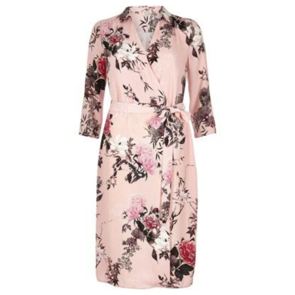 River Island Womens Pink oriental print shirt dress