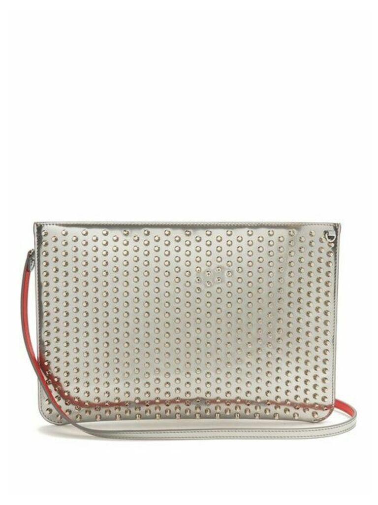 Christian Louboutin - Loubi Spike Embellished Leather Clutch - Womens - Silver