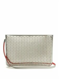 Christian Louboutin - Loubi Spike Embellished Leather Clutch - Womens - Silver