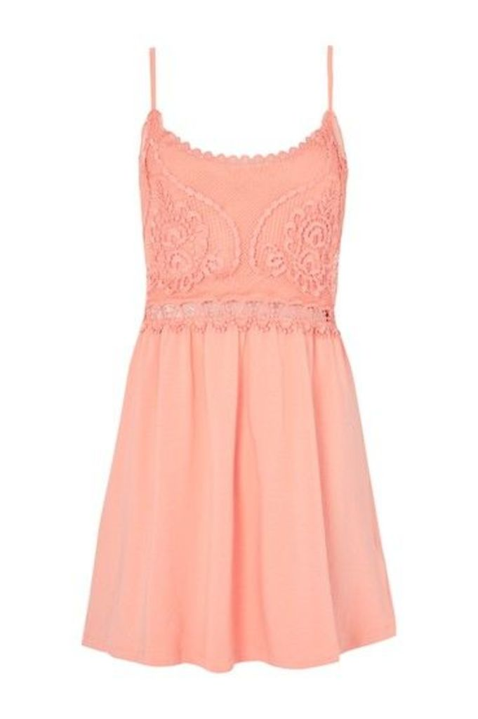 Womens PETITE Crochet Dress - Coral, Coral