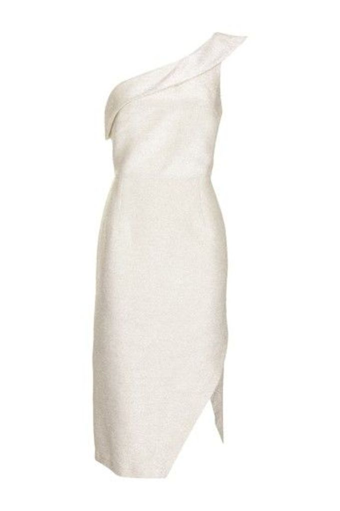 Womens Tinsel One Shoulder Midi Dress - Ivory, Ivory