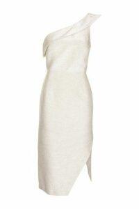 Womens Tinsel One Shoulder Midi Dress - Ivory, Ivory