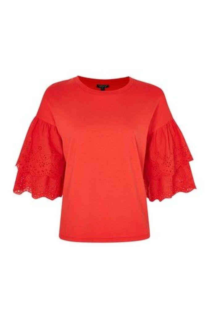 Womens Broderie Sleeve T-Shirt - Raspberry, Raspberry