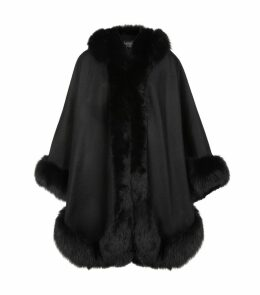 Cashmere Hooded Cape with Fox Trim