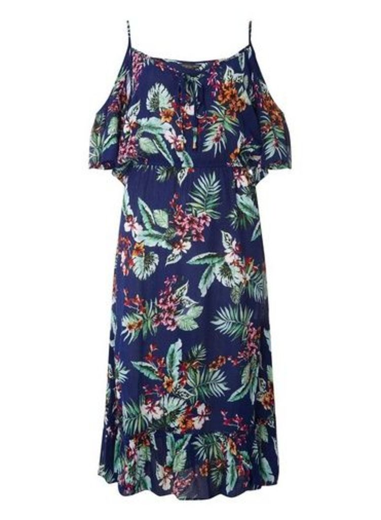 Womens **Tall Blue Tropical Midi Dress- Blue, Blue