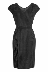Boutique Moschino Virgin Wool Dress with Pinstripes
