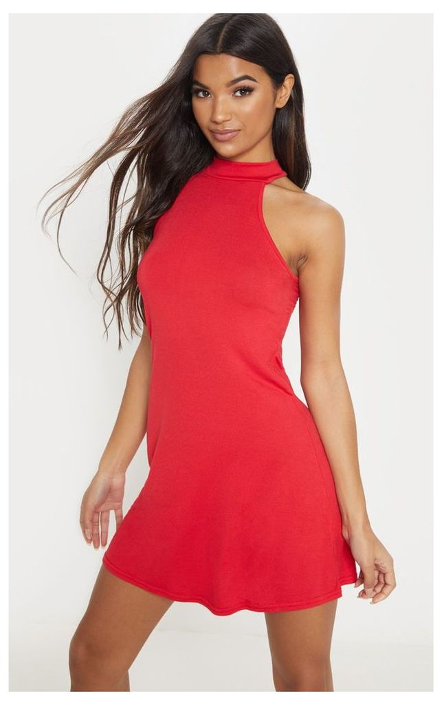 Basic Red Jersey High Neck Swing Dress, Red