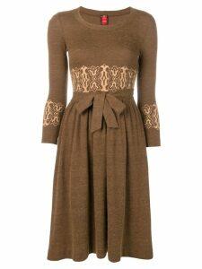 Ritz Saddler Vintage embroidered tie waist dress - Brown