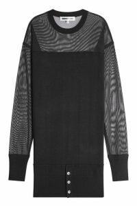 McQ Alexander McQueen Wool Dress with Mesh Sleeves