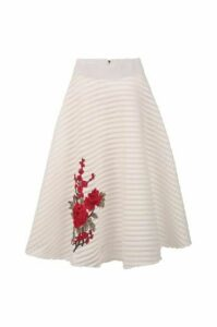 Floral Embroidered Midi Skirt