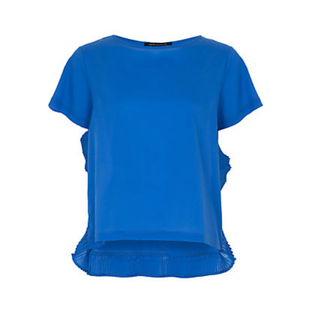 French Connection Polly Plains Frill Top, Empire Blue