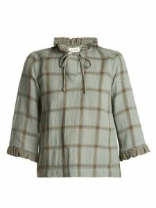 Cecilie Copenhagen - Tie Neck Cotton And Linen Blend Checked Top - Womens - Khaki Multi