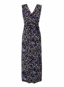 **Grace Multi Coloured Ditsy Print Maxi Dress, Purple
