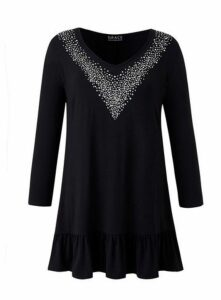 **Grace Black Stud Neck Tunic, Black