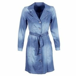 Cream  DENIM TRENCHCOAT  women's Trench Coat in Blue