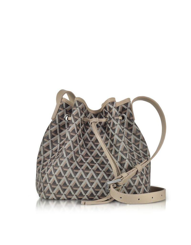 Lancaster Paris Designer Handbags, Ikon Brown & Nude Coated Canvas and Leather Small Bucket Bag