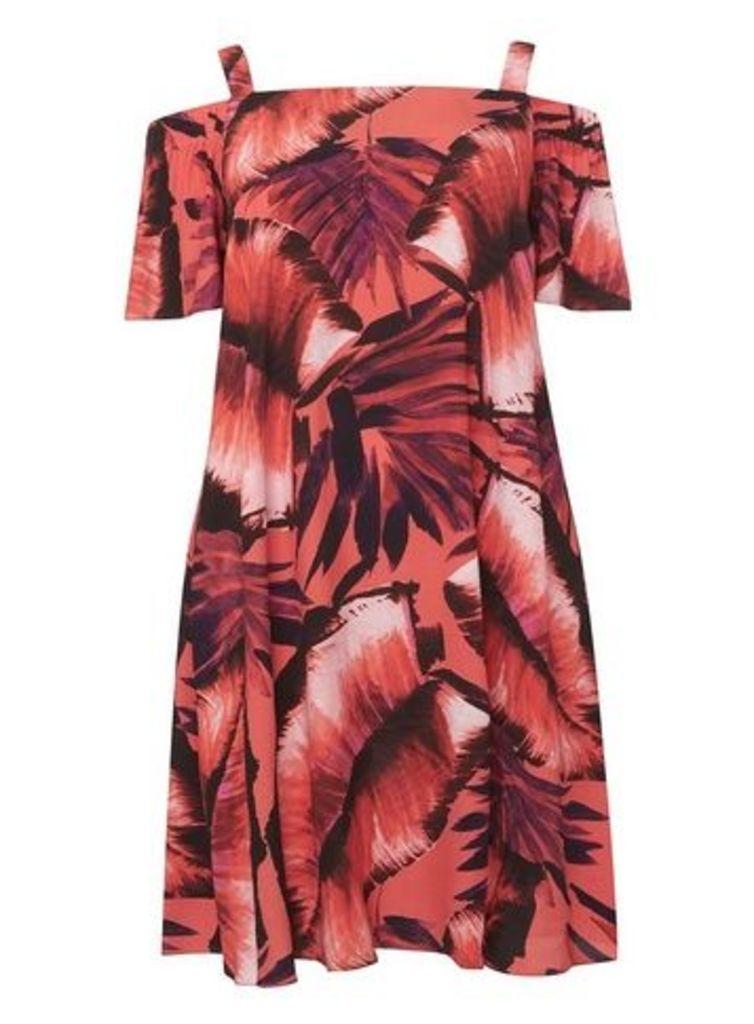 **Live Unlimited Tropical Print Bardot Swing Dress, Pink