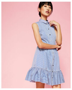 Ted Baker Striped collared cotton-blend dress Navy
