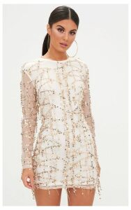 Rose Gold Sequin Detail Long Sleeve Bodycon Dress, Pink
