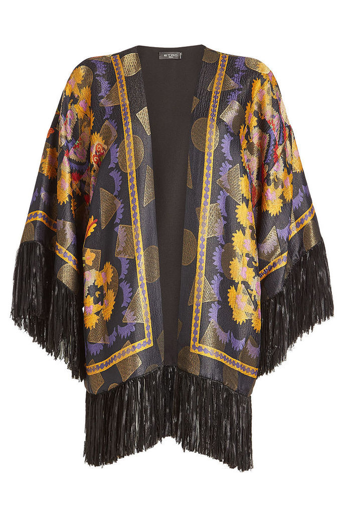 Etro Silk Jacquard Poncho with Fringed Hem