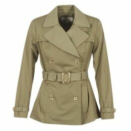 MICHAEL Michael Kors  SHORT PLEATED TRENCH  women's Trench Coat in Green