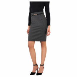 Krisp  Belted Pencil Midi Skirt [Grey]  women's Skirt in Grey