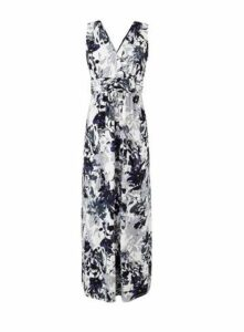 **Grace Purple Floral Print Maxi Dress, Purple