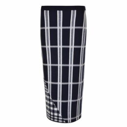 Victoria Beckham Check Midi Wool Skirt