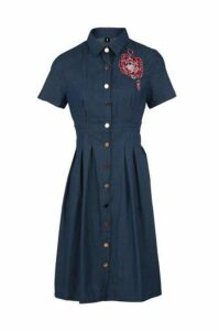 Denim Embroidered Shirt Dress