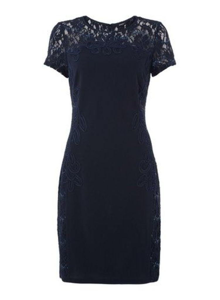 Womens *Roman Originals Navy Sequin Lace Dress- Navy, Navy
