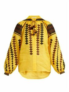 Vita Kin - Riverbank Embroidered Lightweight Linen Blouse - Womens - Yellow Multi