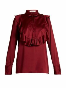 Valentino - Ruffled Bib Satin Blouse - Womens - Burgundy