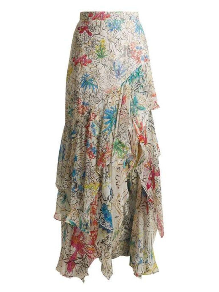 Peter Pilotto - Asymmetric Floral Print Silk Georgette Skirt - Womens - White Print