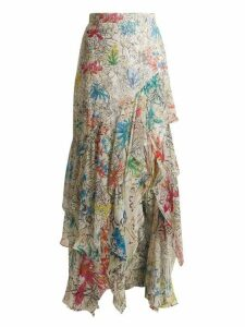 Peter Pilotto - Asymmetric Floral Print Silk Georgette Skirt - Womens - White Print