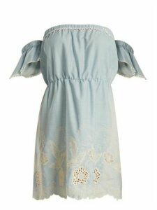Athena Procopiou - Gypset Off The Shoulder Cotton Mini Dress - Womens - Light Blue