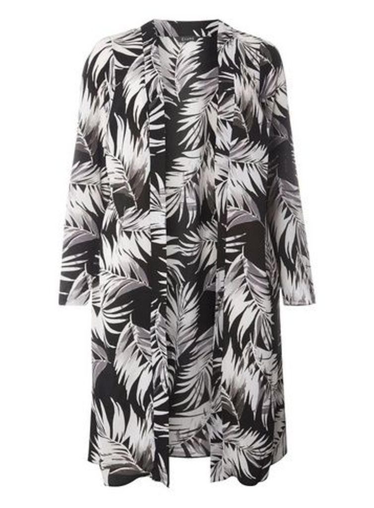 Grey Palm Print Longline Cover Up, Dark Multi
