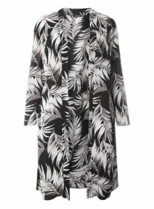 Grey Palm Print Longline Cover Up, Dark Multi