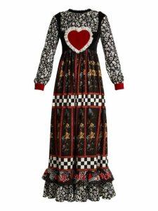 Blue Roses - Falabella Ruffled Crepe Dress - Womens - Black White