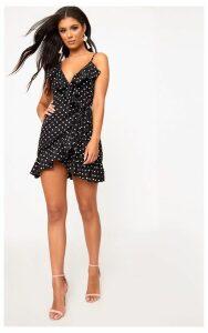 Black Polkadot Wrap Over Tea Dress, Black Polkadot