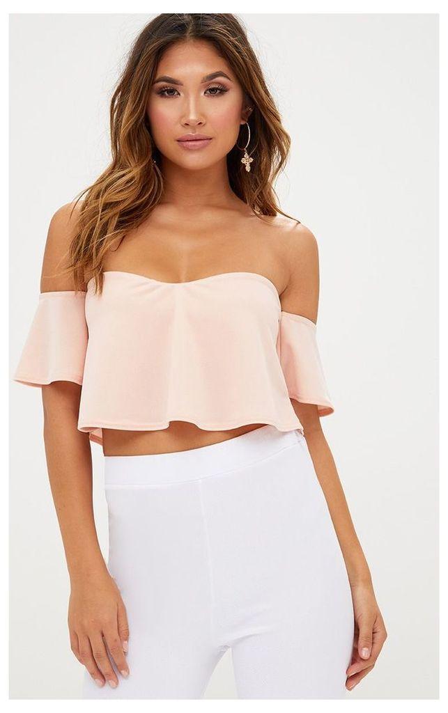 Blush Bardot Sweetheart Neckline Crop Top, Pink