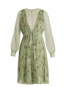 Valentino - Floral Print Lace Trimmed Silk Chiffon Dress - Womens - Green Print